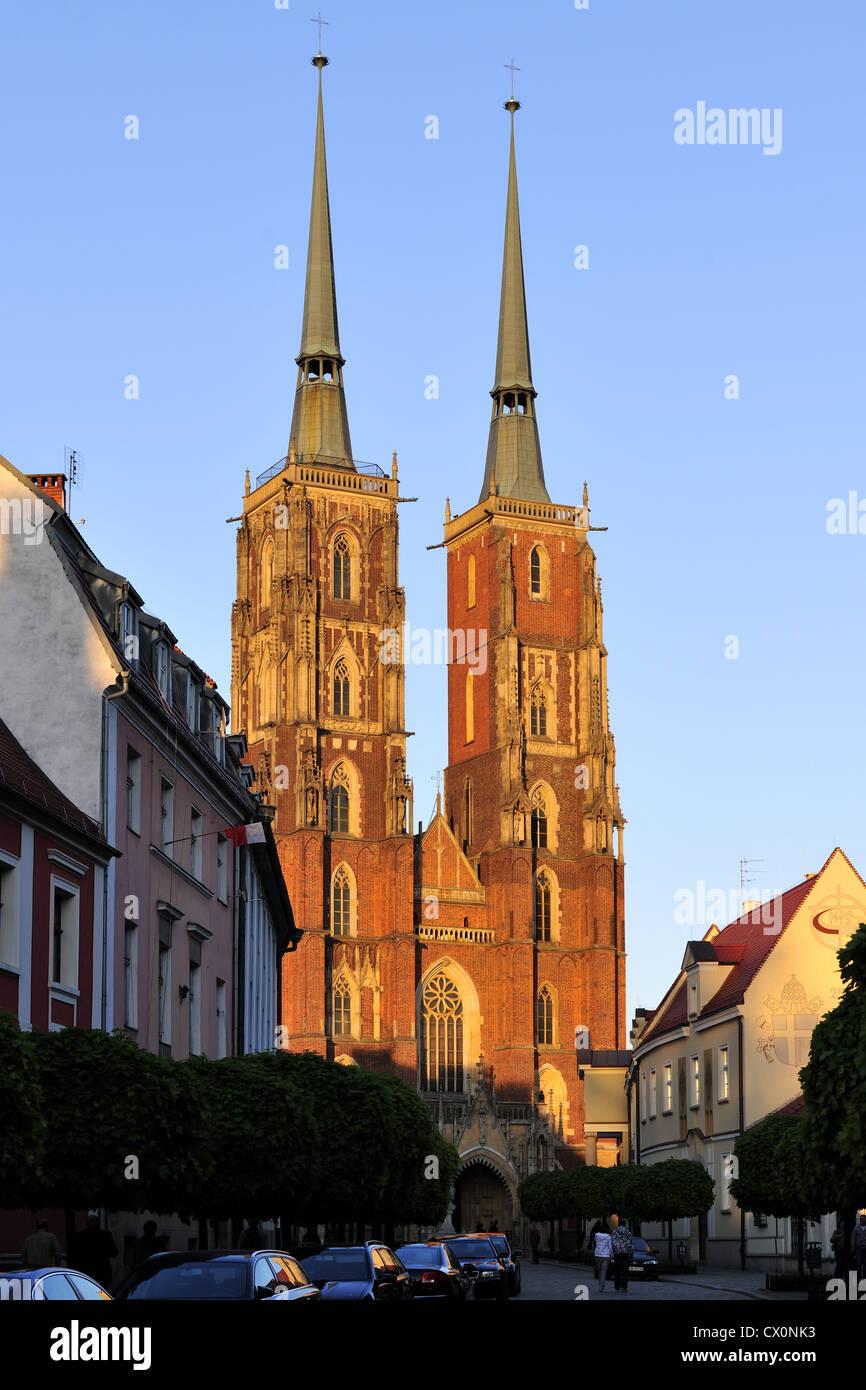 breslau, church, dolnoslaskie, europe, ostrow, tumski, poland, silesia, wroclaw, - Stock Image