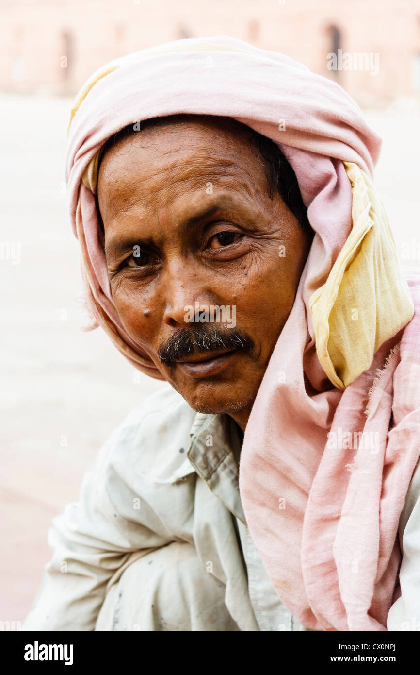 Portrait of man with turban, Lahore , Pakistan - Stock Image