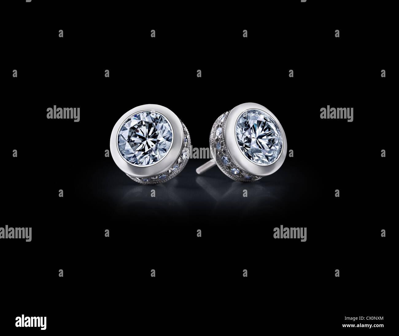 Diamond Earrings - Stock Image