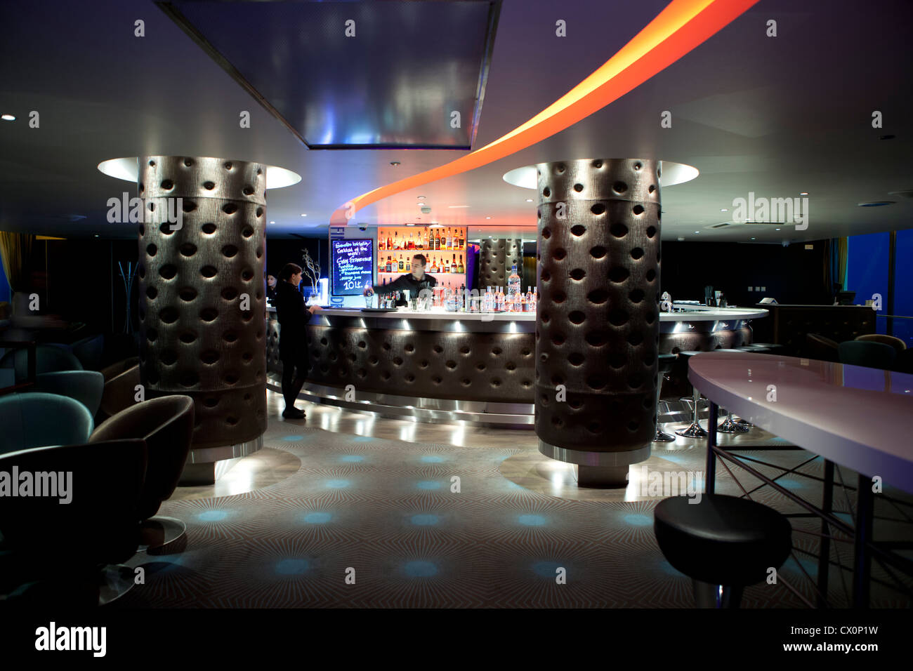 Sky bar Radisson BLU hotel Vilnius Lithuania Stock Photo