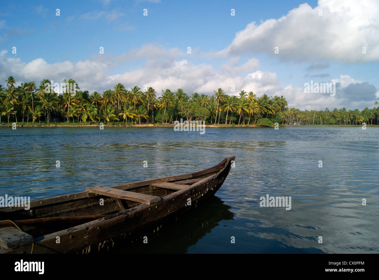 Serene View of Kerala Backwaters Scenery and Wide Angle View of Coconut Palm India Landscapes with Traditional Country - Stock Image