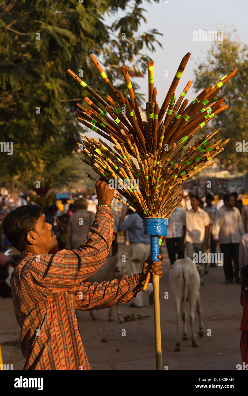 Elk201-2520v India, Karnataka, Hampi, Hampi Bazaar, man selling flutes - Stock Image