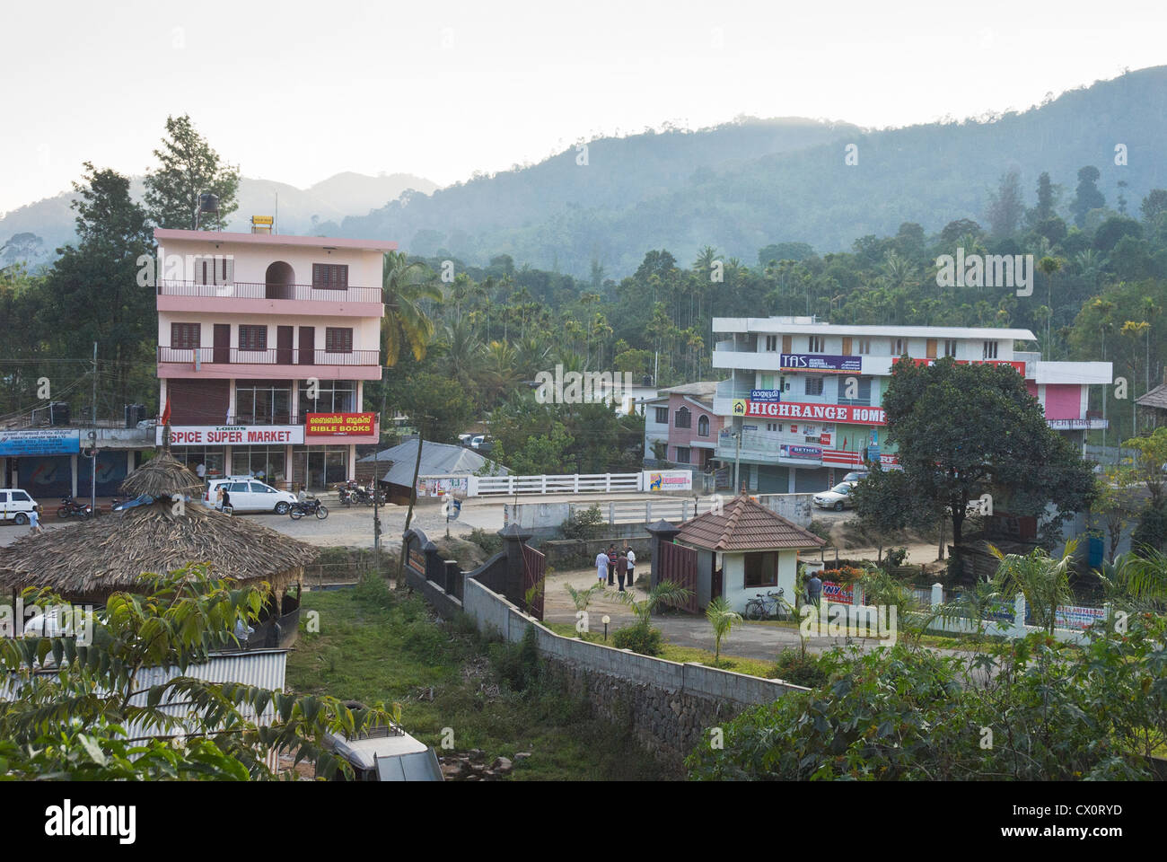 Elk201-3673 India, Kerala, Periyar, Kumily town - Stock Image