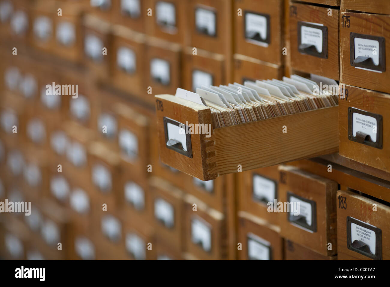 database concept. vintage cabinet. library card or file catalog. - Stock Image
