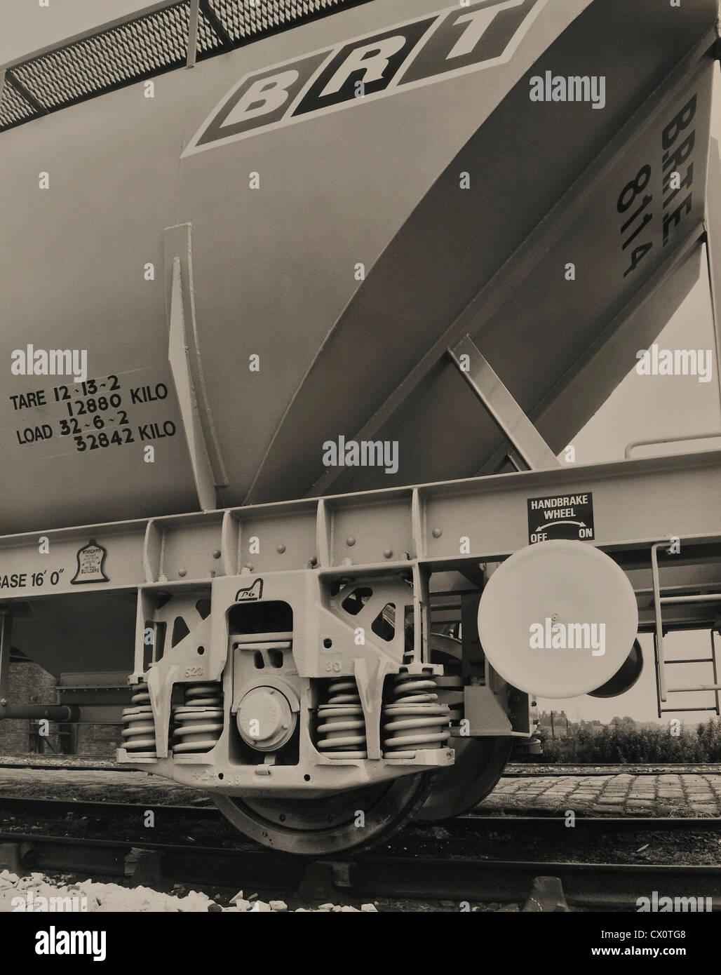 Railway Bogie British Steel Product England UK - Stock Image
