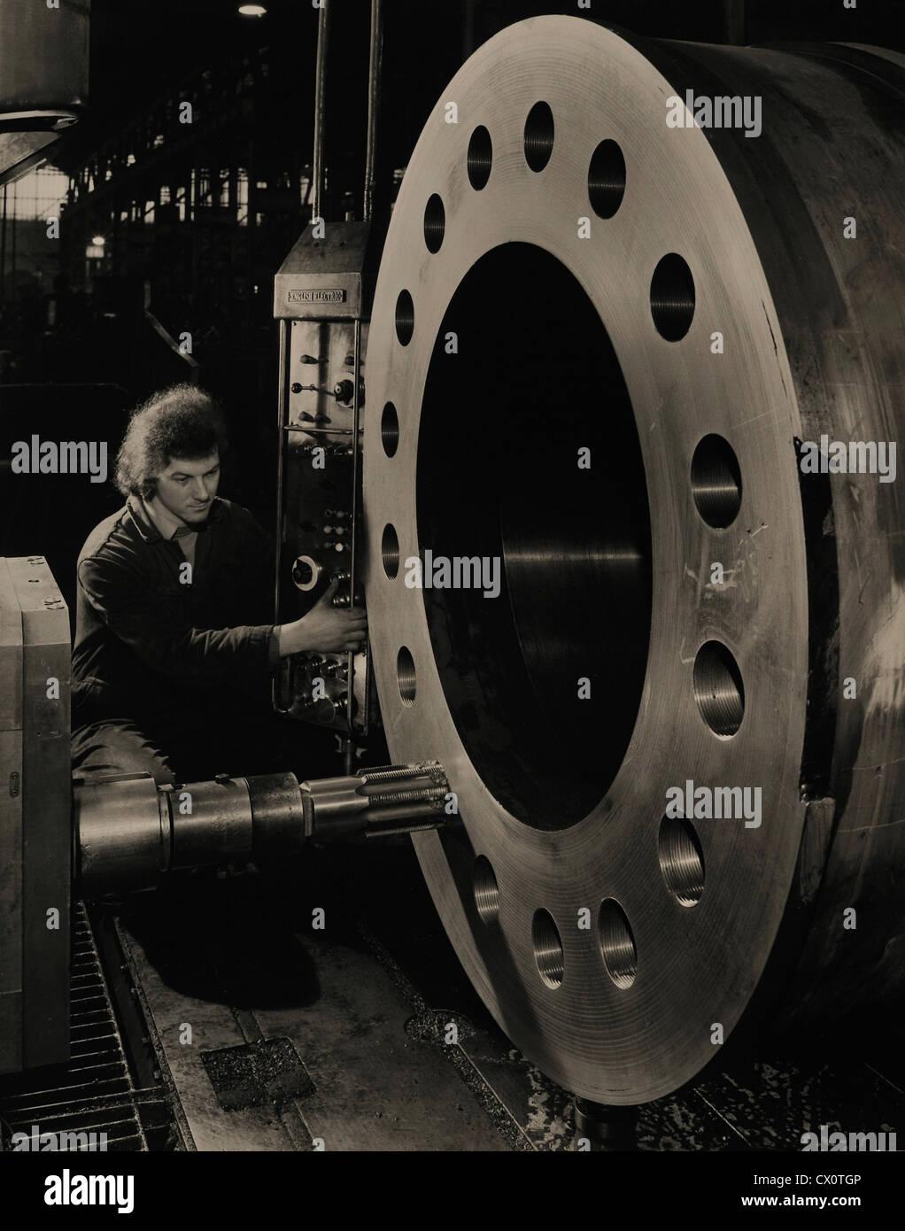 Drilling Large Steel Vessel British Steel Sheffield England UK - Stock Image