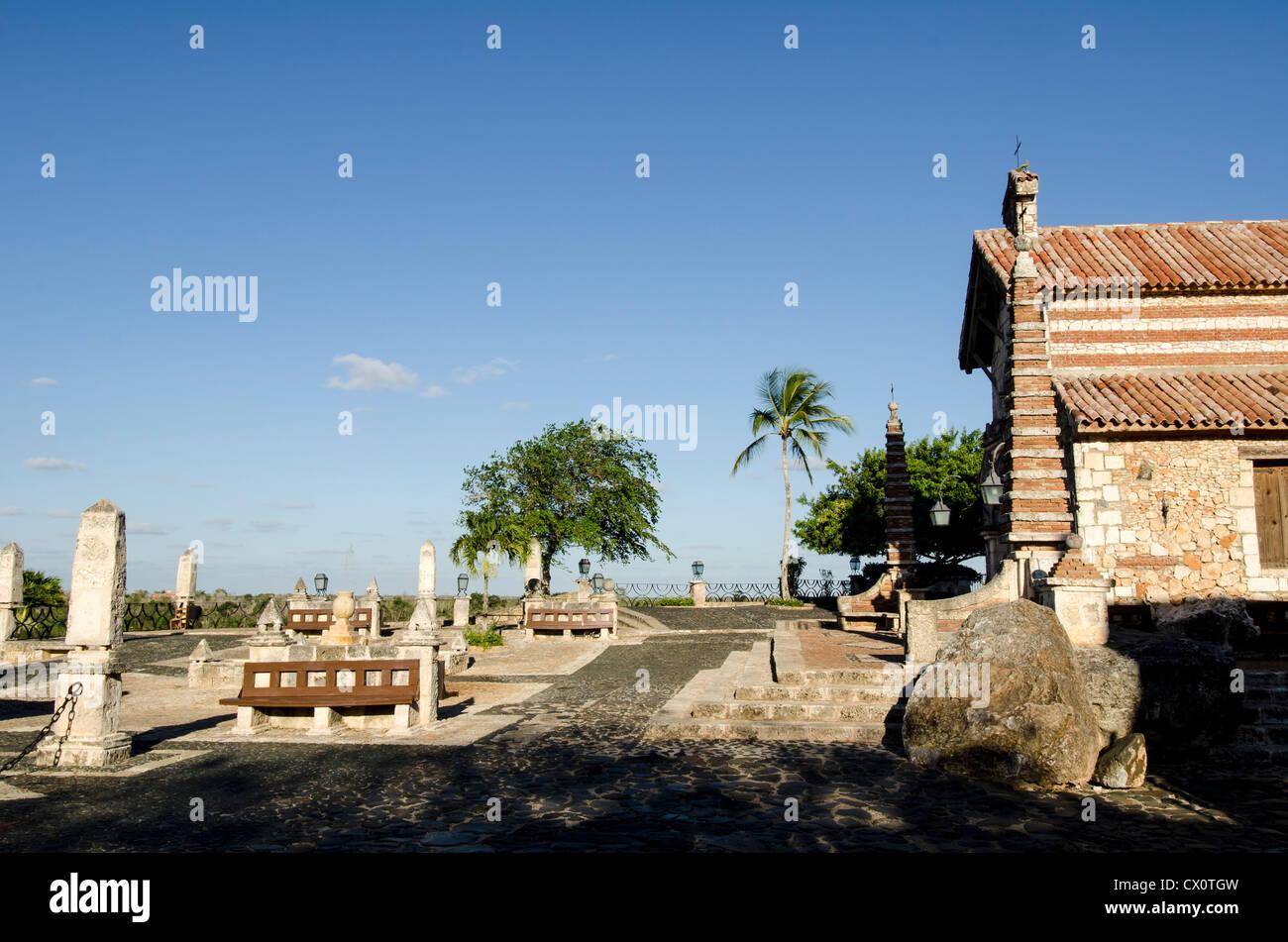 Altos de Chavon St Stanislaus Church tourist attraction at Casa de Campo, La Romana, Dominican Republic - Stock Image