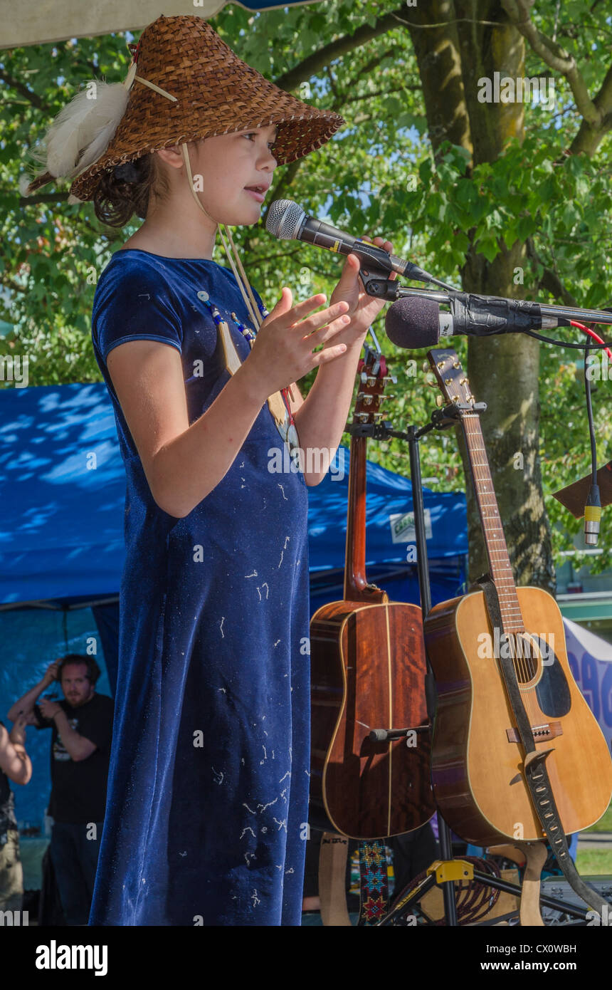 Young First Nations singer, activist, Ta'Kaiya Blaney, 11, speaks and sings at the Salish Sea Festival, N. Vancouver, - Stock Image
