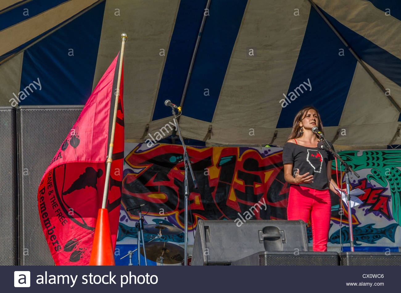 Melina Laboucan-Massimo, a member of the Lubicon Cree First Nation, speaks at Salish Sea Festival. - Stock Image