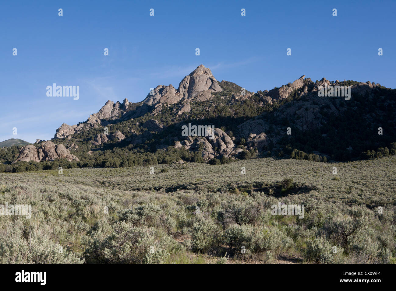 Fanciful rock shapes at City of Rocks National Reserve, Almo, ID. - Stock Image