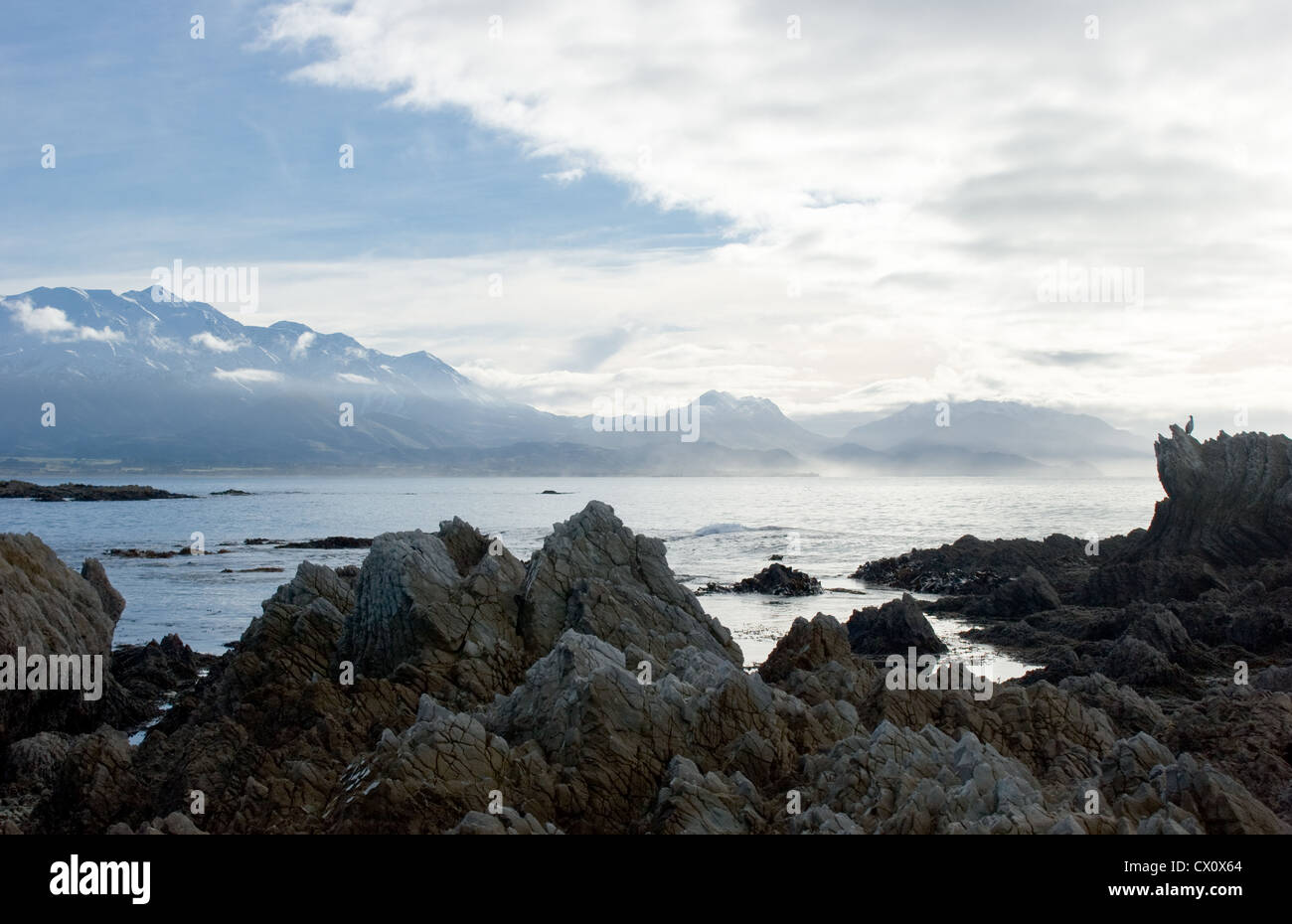 The Rugged Coastline At Kaikoura New Zealand Stock Photo