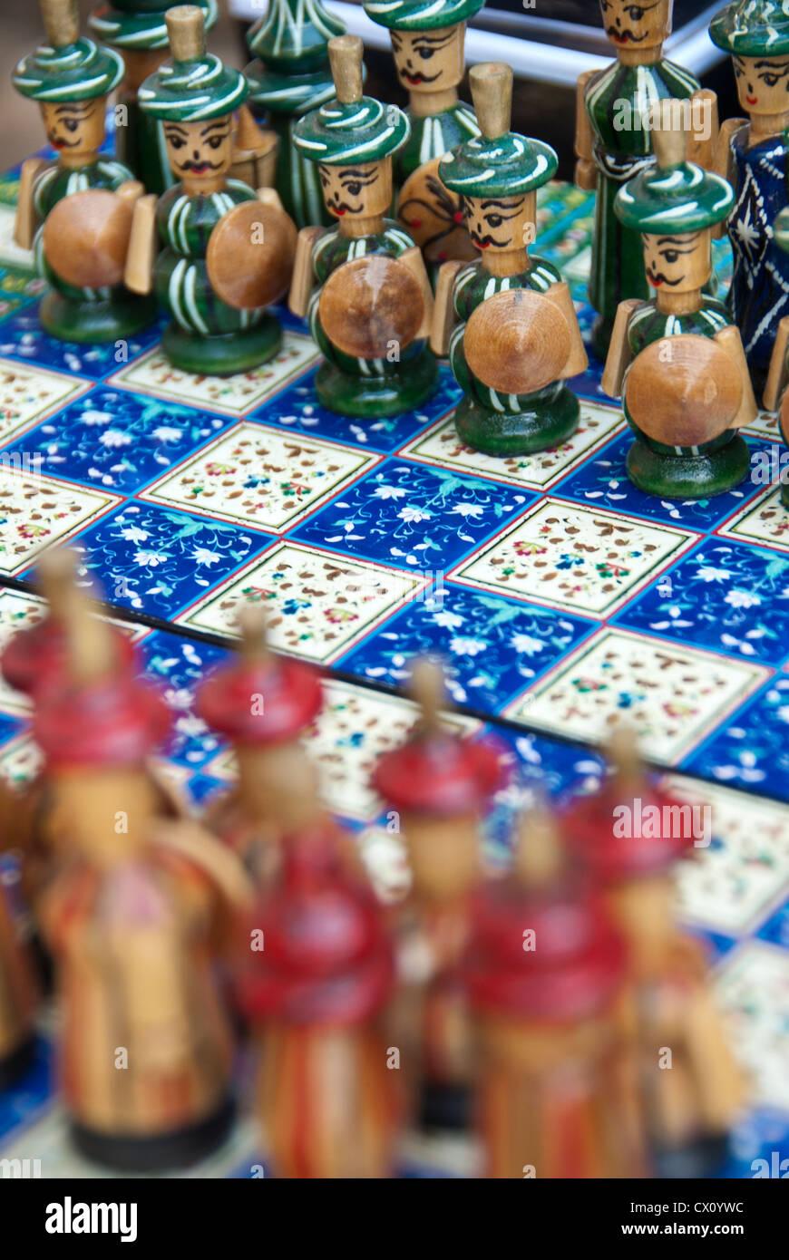 Handmade Chess game and Pieces, Samarkand, Uzbekistan Stock Photo