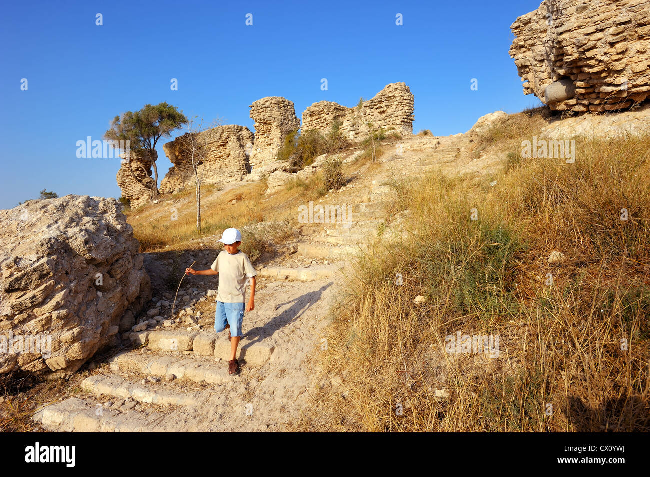 Remnants of fortifications that were built by the crusaders in Ashqelon, Israel - Stock Image