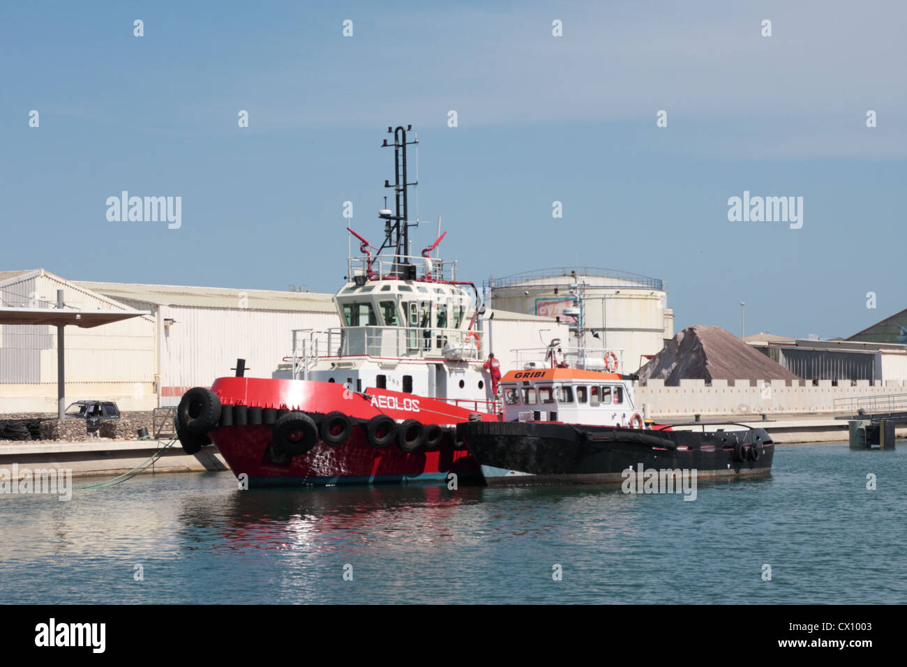 Large and small tugs moored in the harbour of Port La Nouvelle Languedoc-Roussillon France - Stock Image