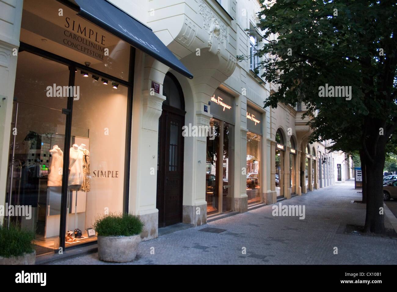 Simple Carollinum Salvatore Ferragamo stores in Parizska Street in Prague Czech Republic on May 23 2012 Parizska - Stock Image