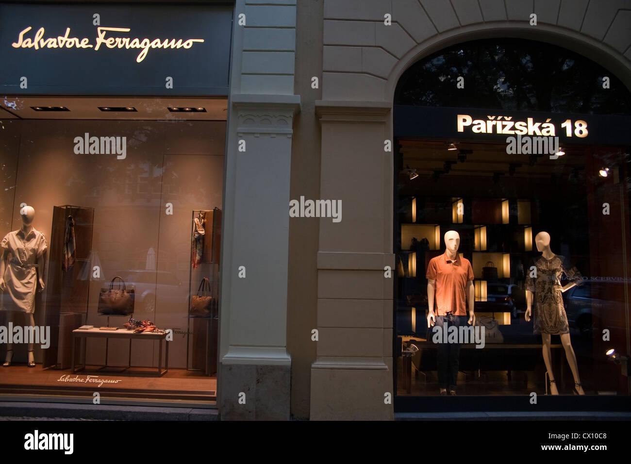 Parizska 18 Salvatore Ferragamo stores in Parizska Street in Prague Czech Republic on May 23 2012 Parizska Street - Stock Image