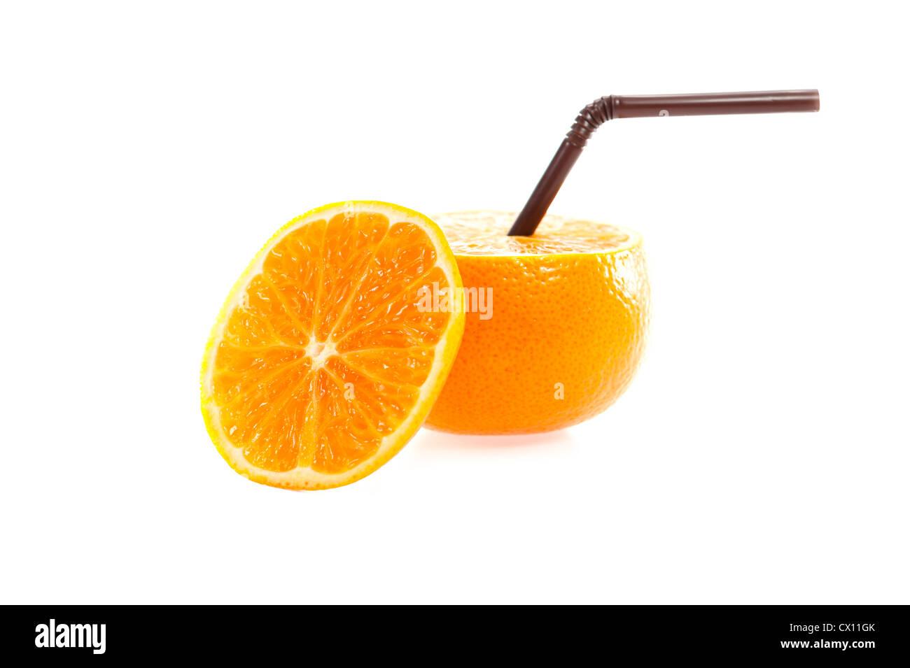Orange with straw on white background isolate - Stock Image