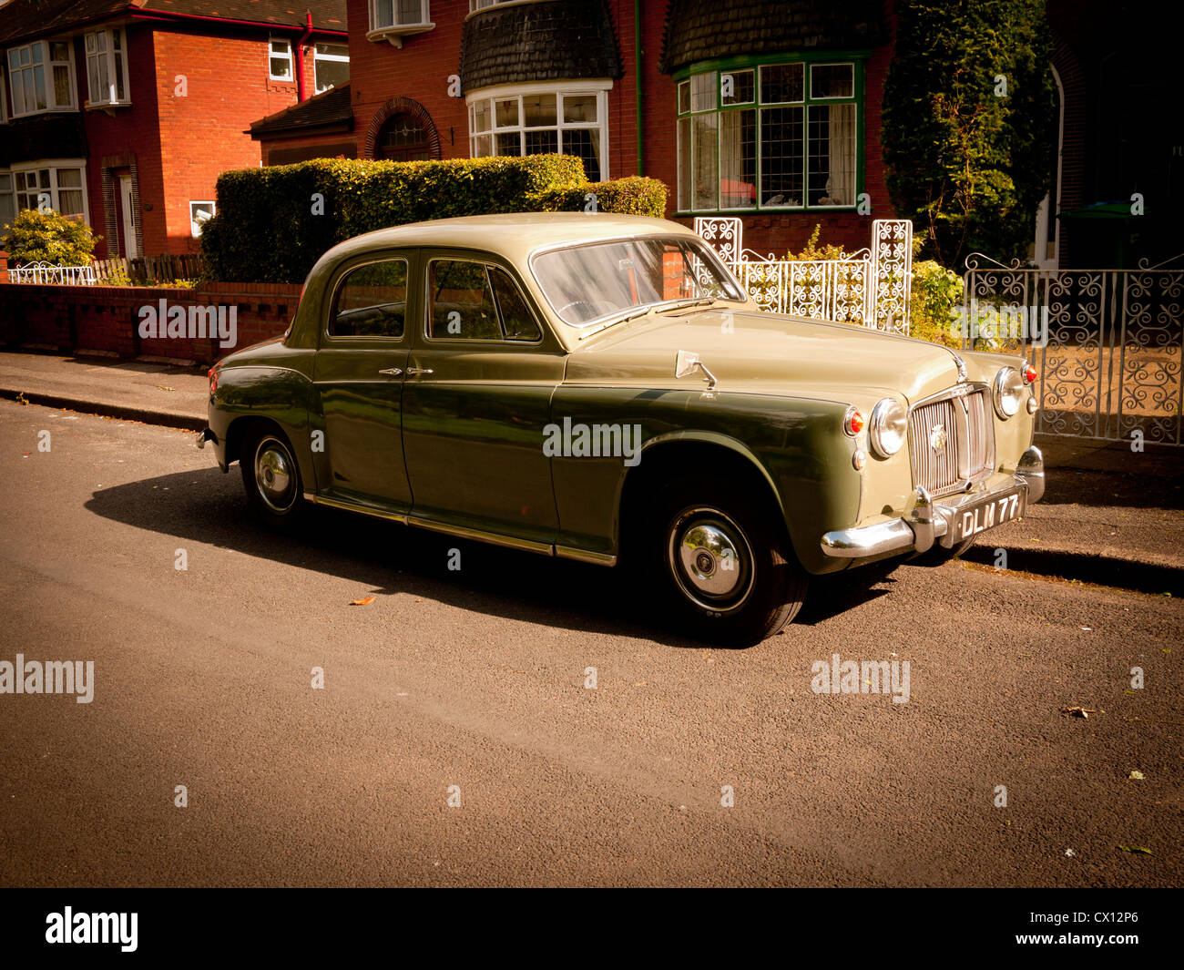 Rover P4 Saloon Car Out Side 1940s Styled House England Uk Stock