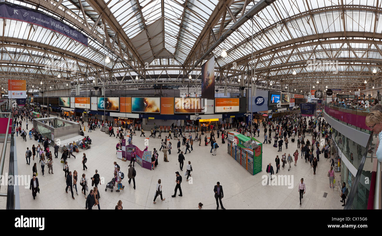 A sweeping panorama of the interior of Waterloo Station in London. - Stock Image