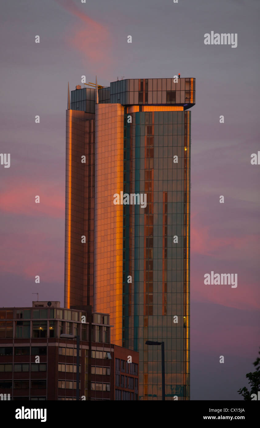 Evening sun on the Beetham Tower in Birmingham City Centre. - Stock Image