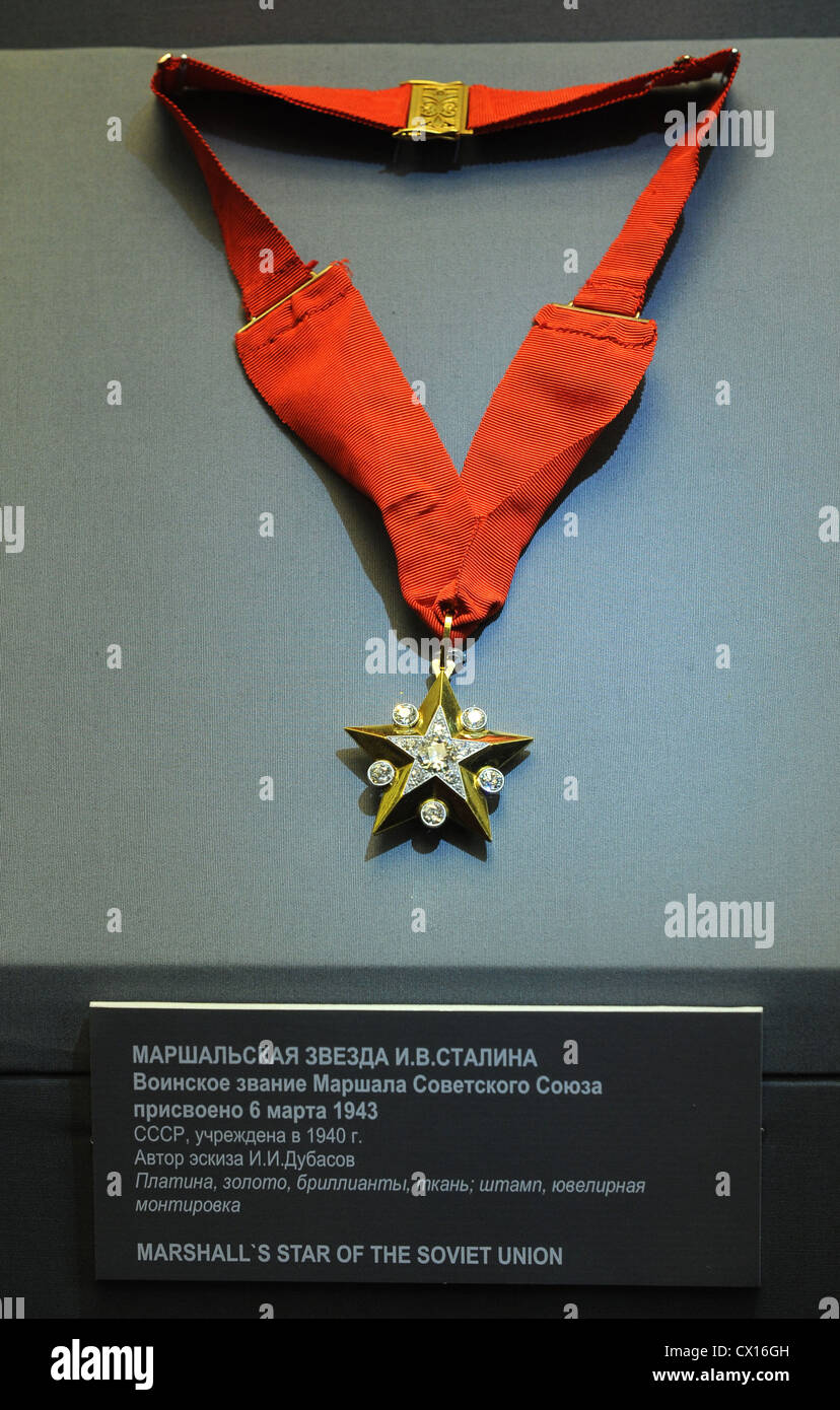 ITAR-TASS 124: MOSCOW, RUSSIA. MAY 5. Star awarded to Joseph Stalin in 1943 to mark his promotion to Marshal of Stock Photo