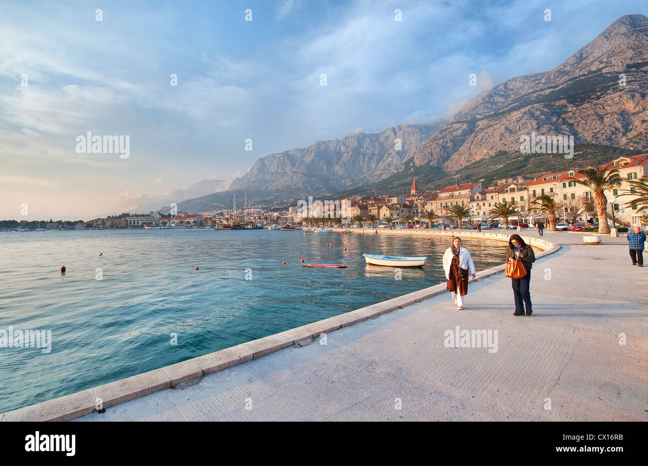 Evening time in the Croatian city of Makarska on the Adriatic Coast Stock Photo
