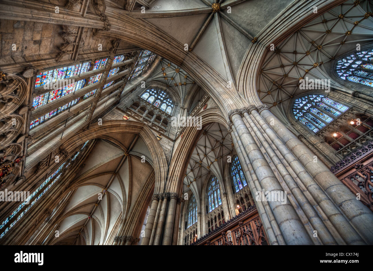 Ribbed Vaulting Elaborate Tracery And Stained Glass Windows Characteristic Of Gothic Architecture In Leeds Cathedral England