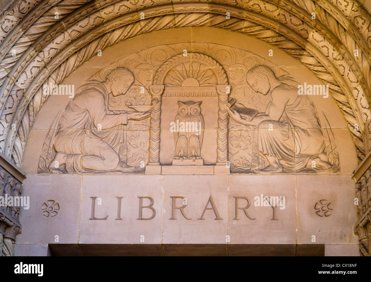 LOS ANGELES, CALIFORNIA, USA - Powell Library sign at UCLA campus. - Stock Image