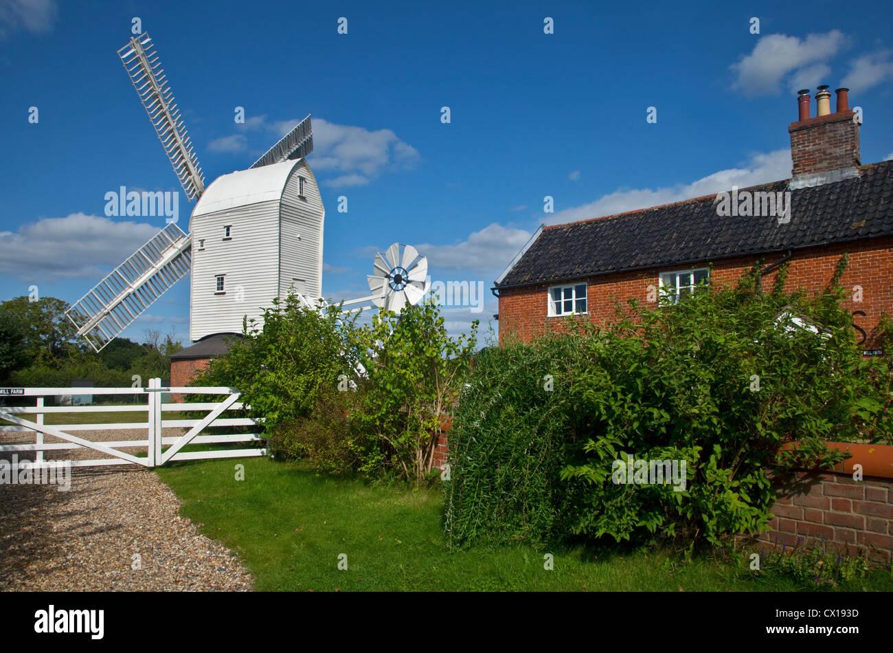 Stanton Post Mill (Windmill), Stanton, Suffolk, England - Stock Image