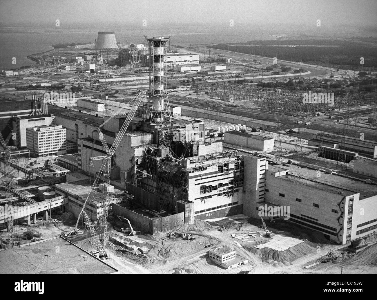 Kiev region. The Chernobyl Nuclear Power Plant. The construction of a defensive wall at the 4th power generating - Stock Image