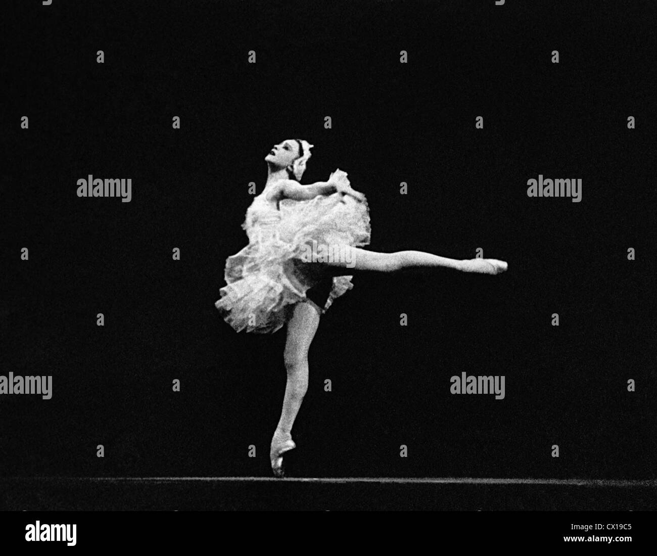 Moscow. Peoples' Artist of the Soviet Union Galina Ulanova performs Odetta in ballet 'Swan Lake'. Photo - Stock Image