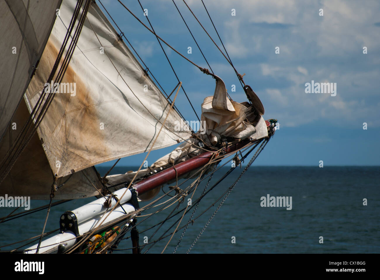 Tall Ship, the Sailing Vessel and Cargo Ship, Brigadine Tres Hombres, Two Masted and Square Rigged Schooner - Stock Image