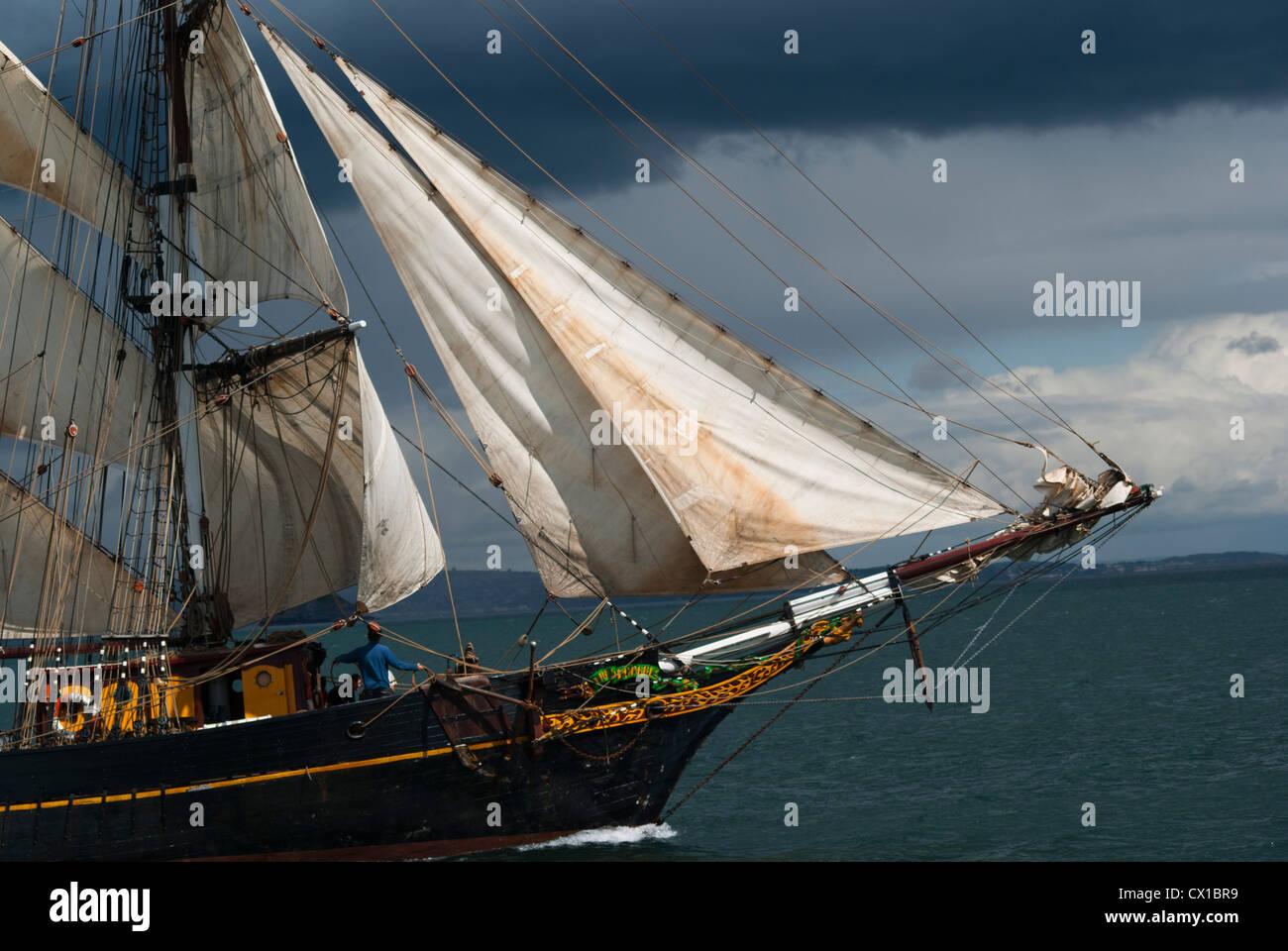 Tall Ship, the Sailing Vessel and Cargo Ship, Brigadine Tres Hombres, Two Masted and Square Rigged Schooner Stock Photo
