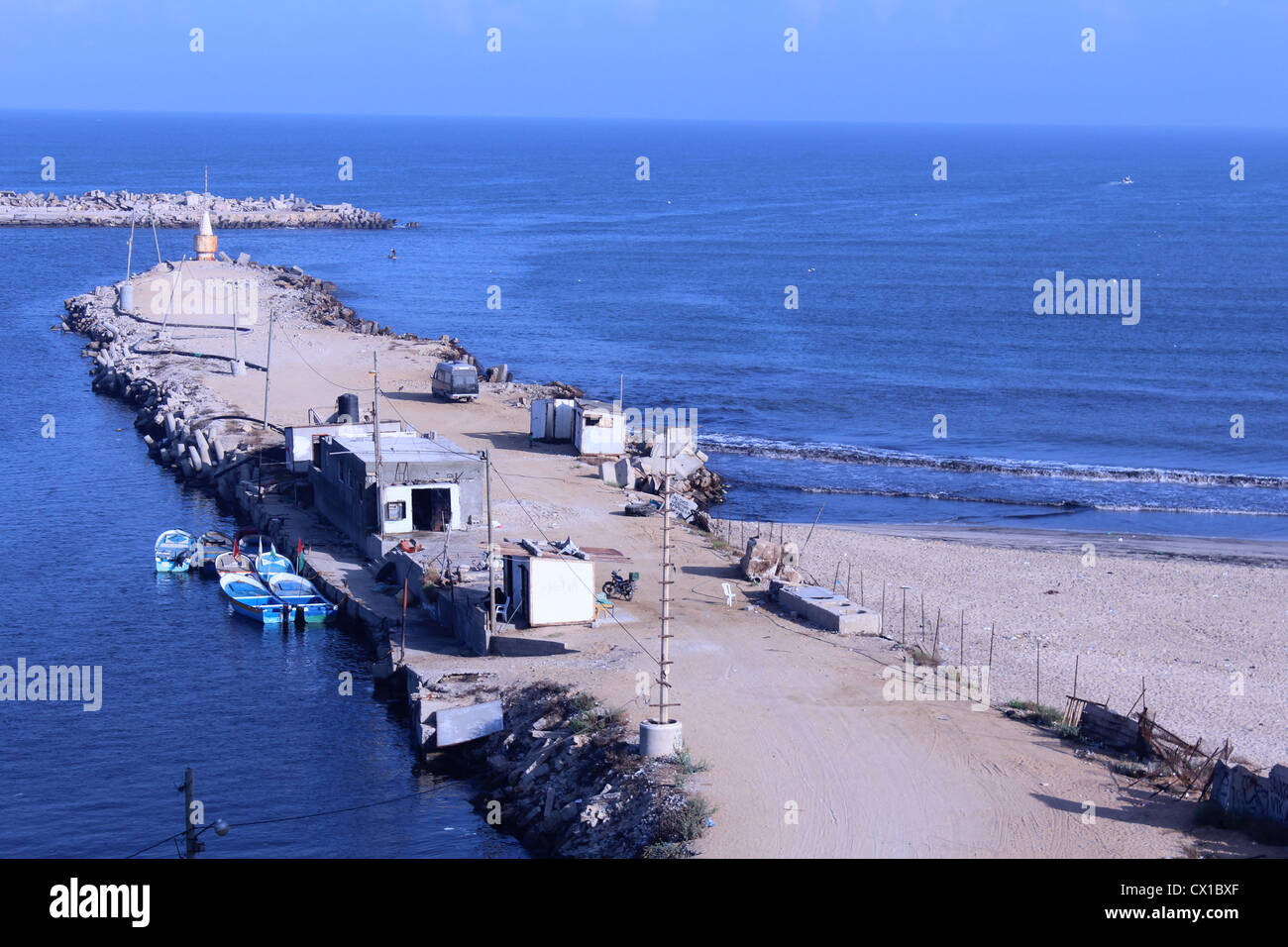 gaza sea port intrance - Stock Image
