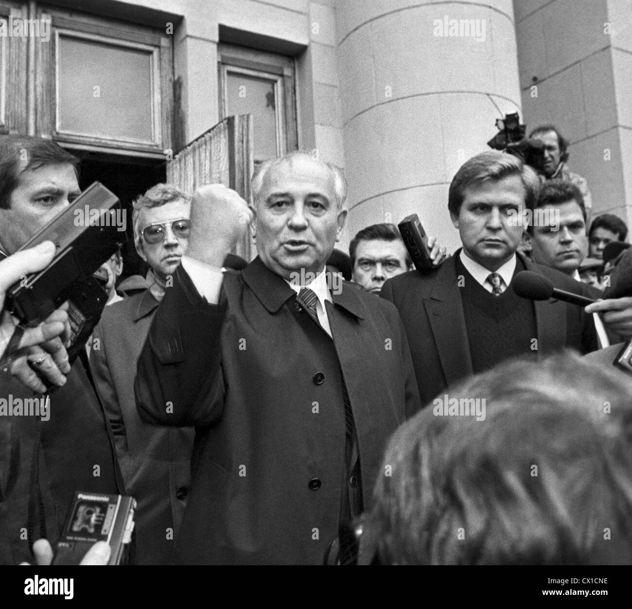 Moscow. Russia. Mikhail Gorbachev, president of the Gorbachev Foundation, making a statement on rendering of the - Stock Image