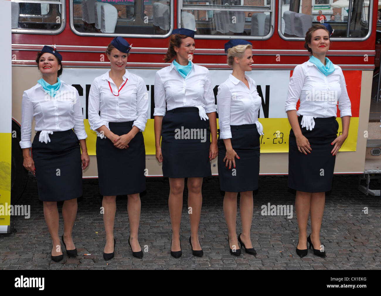 Charterbussen (The Tourist Coach) - a show about the 1950's popular package holidays on Gammeltorv, Strøget, - Stock Image