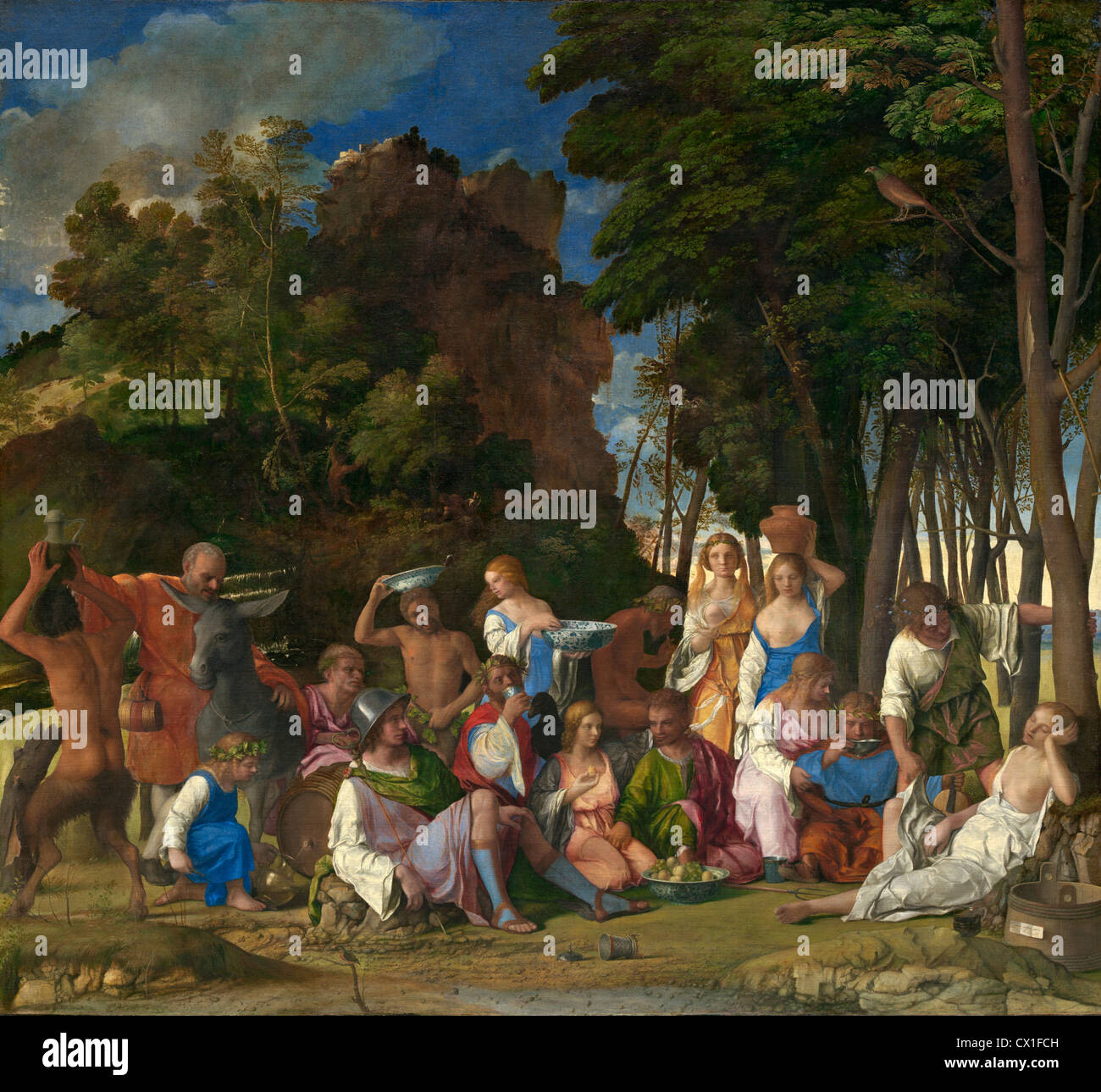 Giovanni Bellini and Titian (Italian, c. 1430/1435 - 1516 ), The Feast of the Gods, 1514/1529, oil on canvas - Stock Image