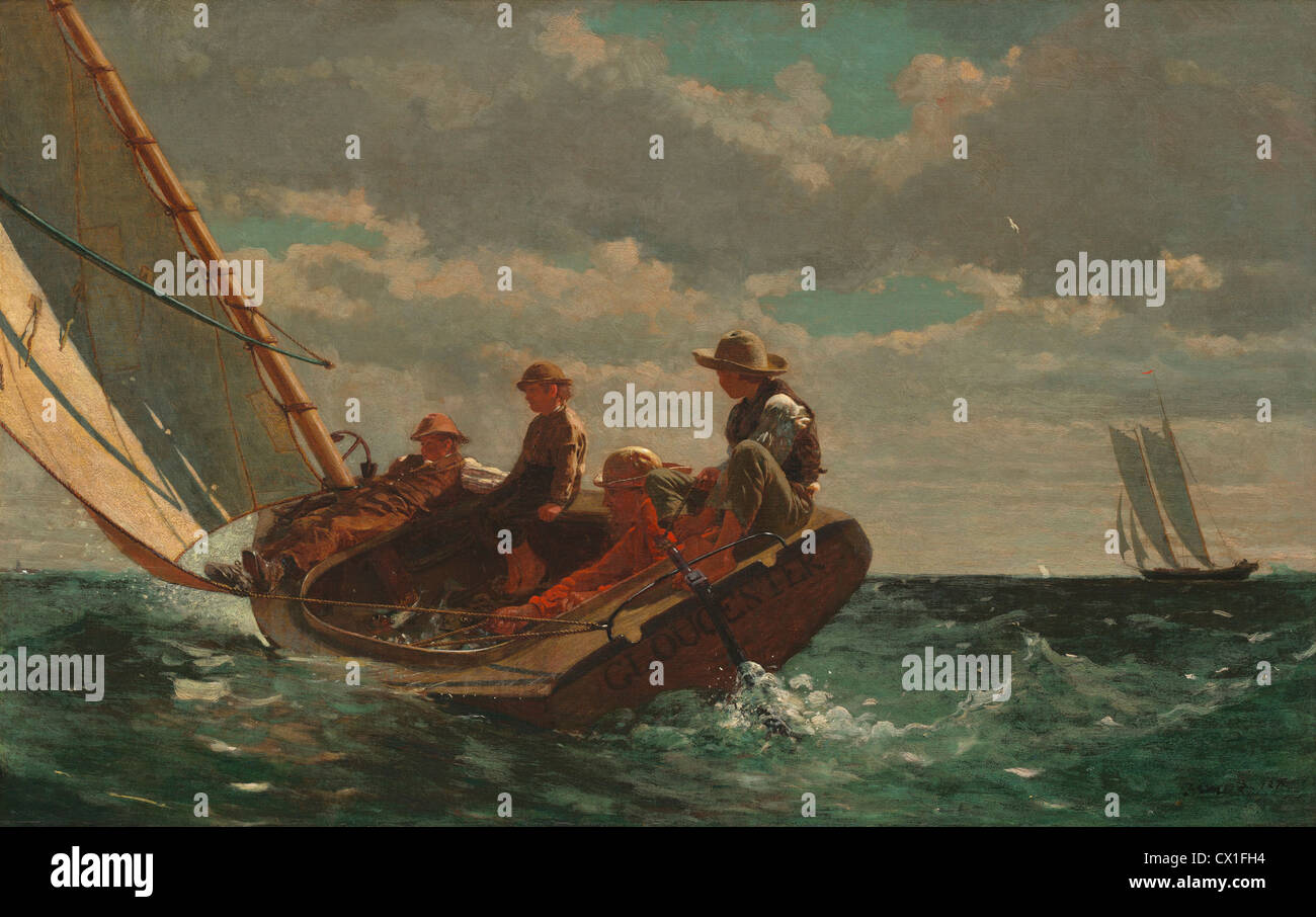 Winslow Homer (American, 1836 - 1910 ), Breezing Up (A Fair Wind), 1873-1876, oil on canvas - Stock Image