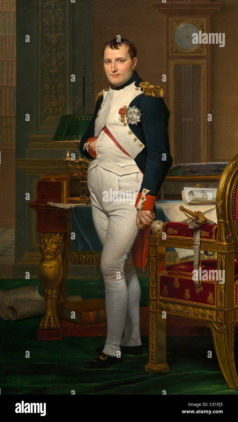 Jacques-Louis David (French, 1748 - 1825 ), The Emperor Napoleon in His Study at the Tuileries, 1812, oil on canvas - Stock Image