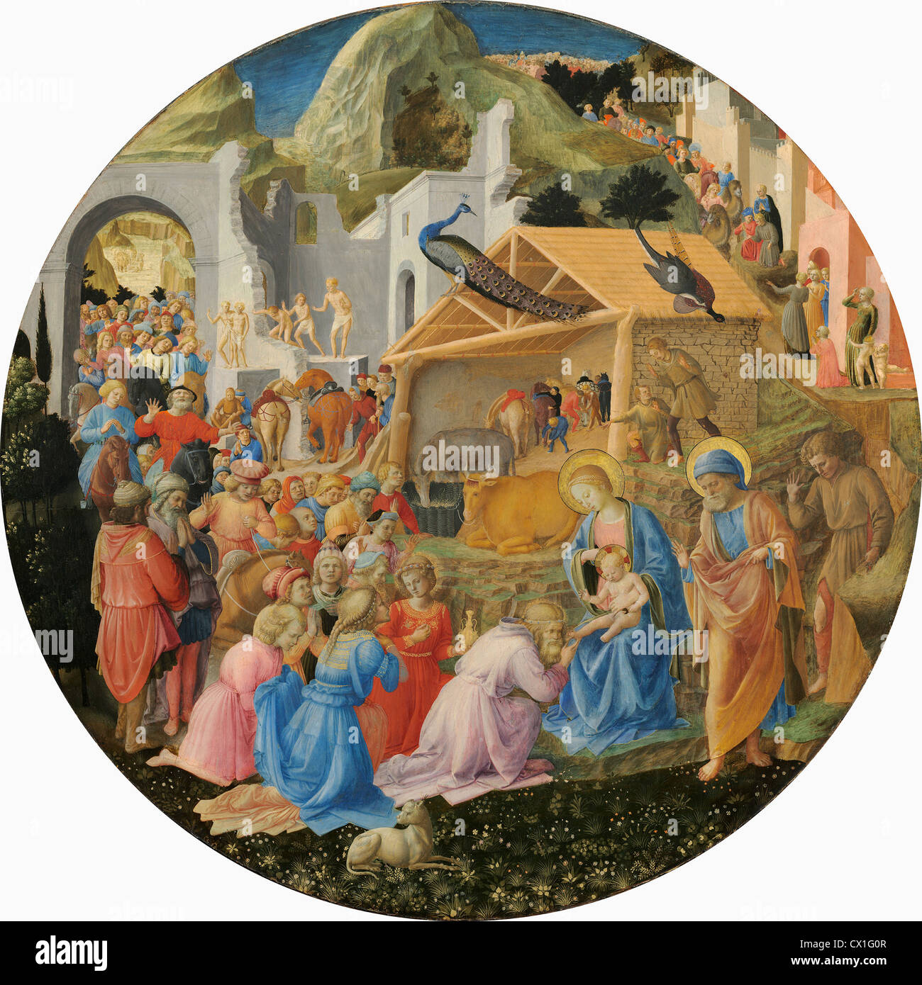 Fra Angelico and Fra Filippo Lippi (Italian, c. 1395 - 1455 ), The Adoration of the Magi, c. 1440/1460, tempera - Stock Image