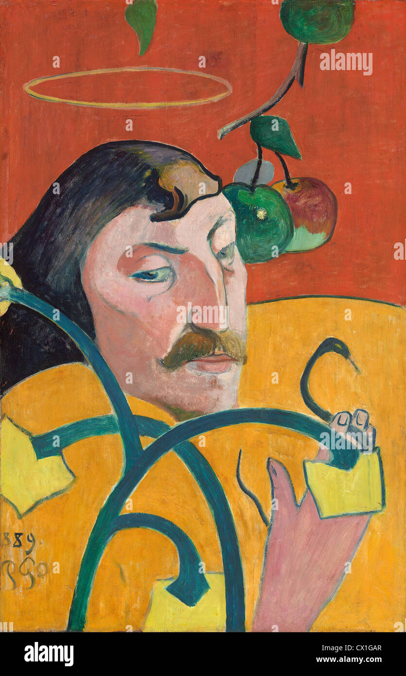 Paul Gauguin (French, 1848 - 1903 ), Self-Portrait, 1889, oil on wood - Stock Image