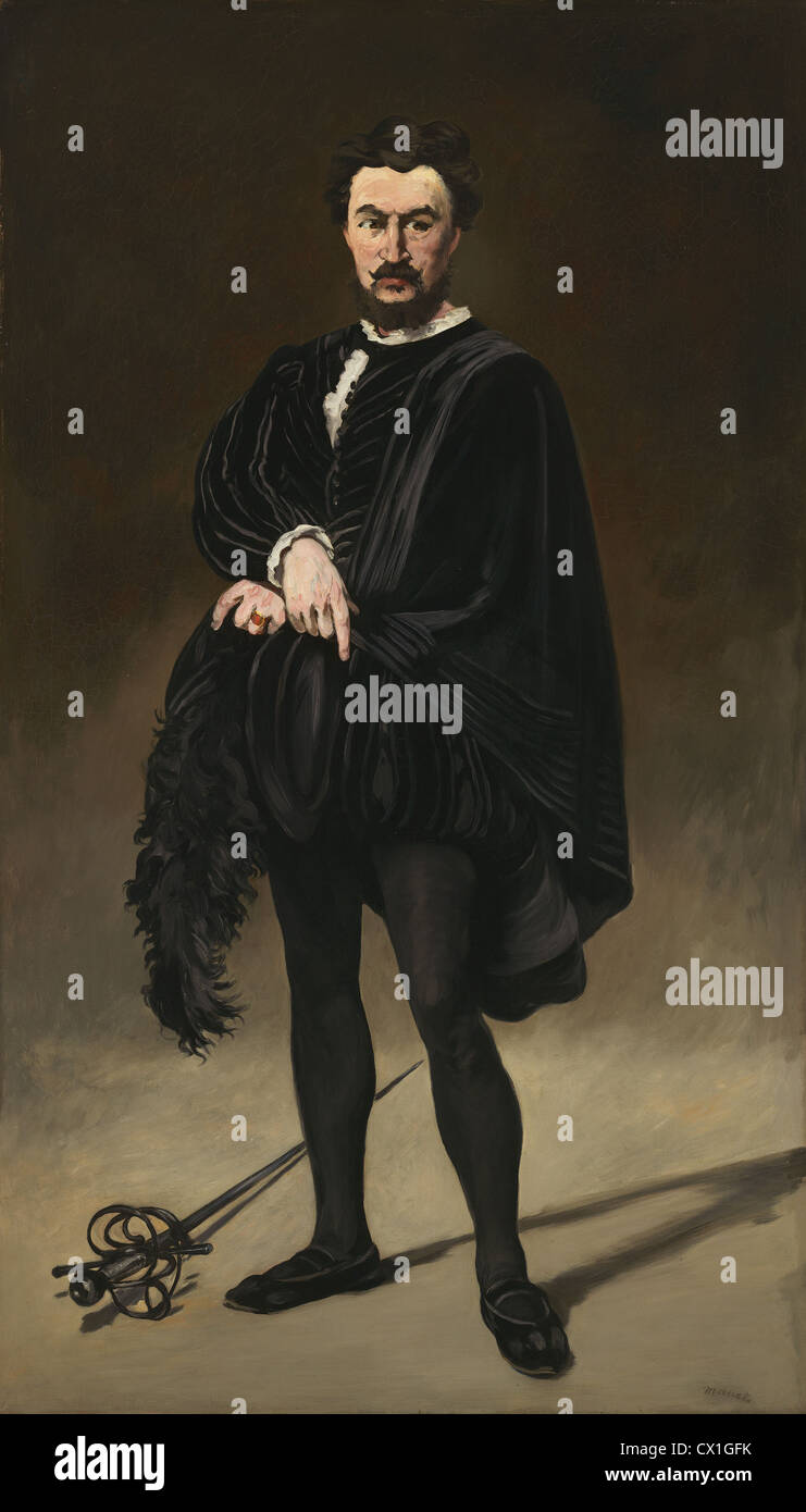 Edouard Manet (French, 1832 - 1883 ), The Tragic Actor (Rouvière as Hamlet), 1866, oil on canvas - Stock Image