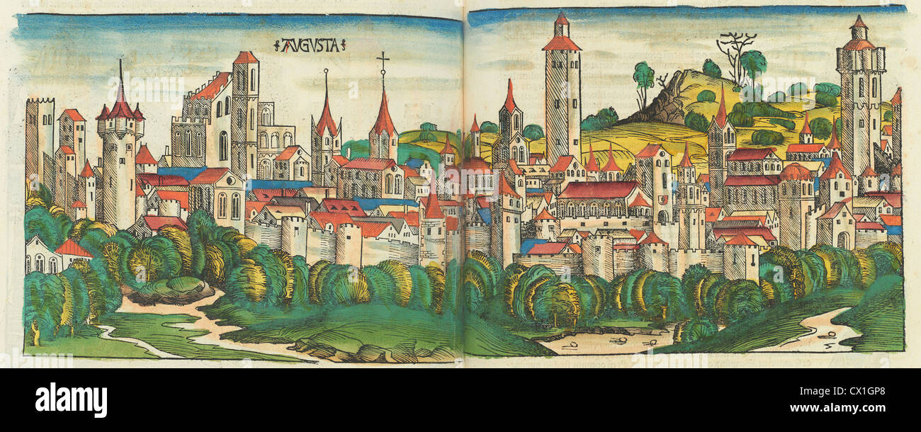 Nuremberg Chronicle, published 1493, 1 vol: ill: 1,809 hand-colored woodcuts, printed from 645 different blocks, - Stock Image