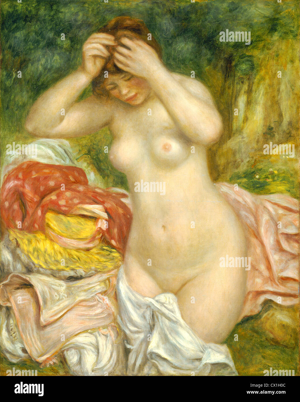Auguste Renoir (French, 1841 - 1919 ), Bather Arranging Her Hair, 1893, oil on canvas - Stock Image