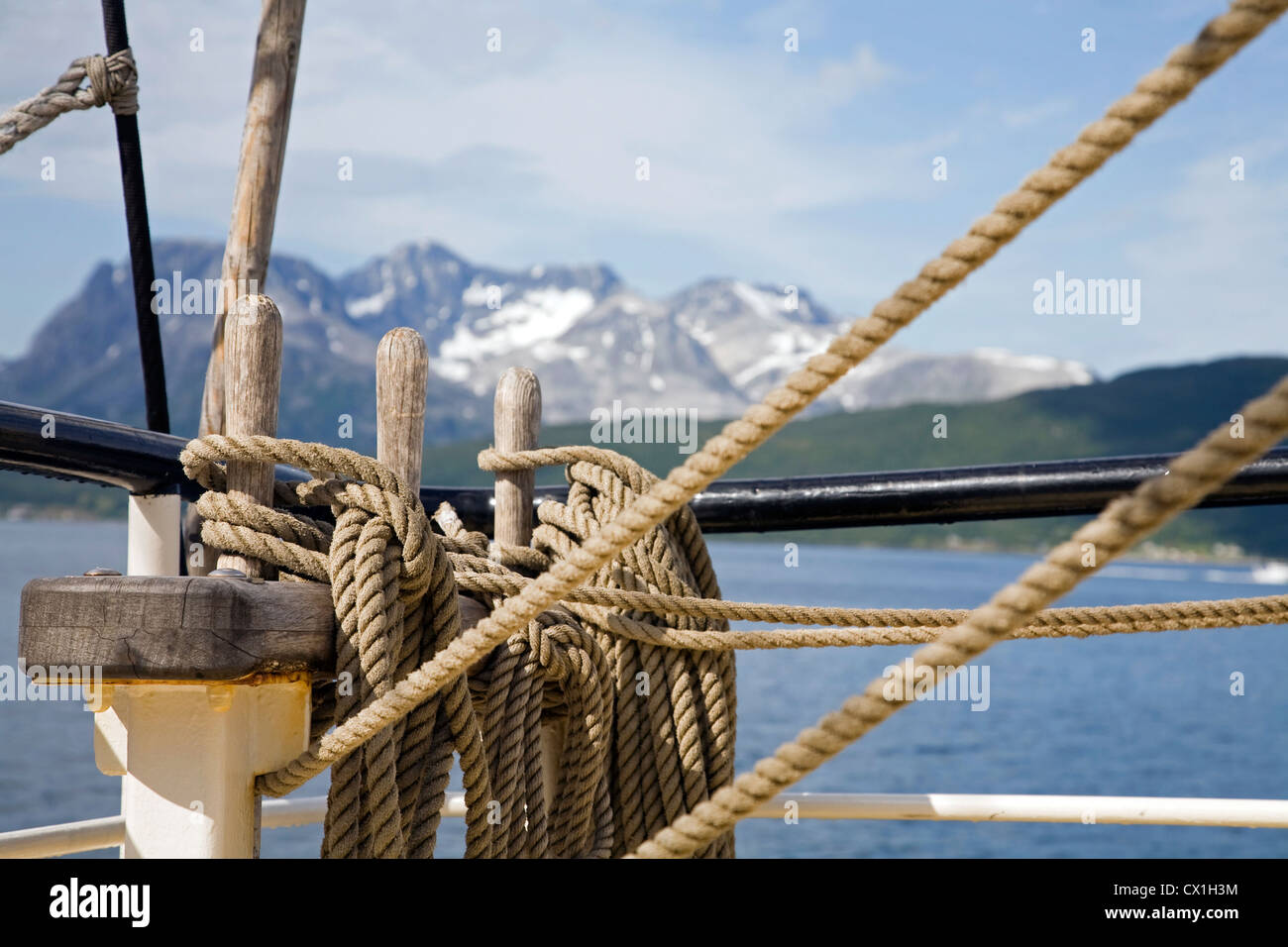 Ropes and rigging detail on board of the tall ship / barquentine Antigua sailing with tourists towards Svalbard, - Stock Image