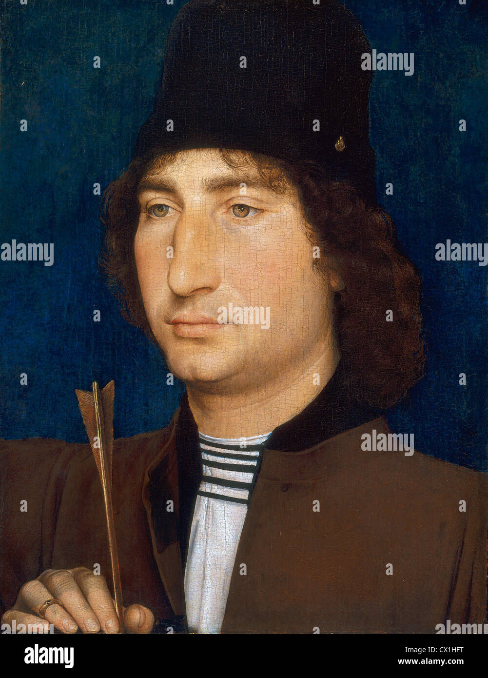 Hans Memling, Portrait of a Man with an Arrow, Netherlandish, active c. 1465 - 1494, c. 1470/1475, oil on panel - Stock Image