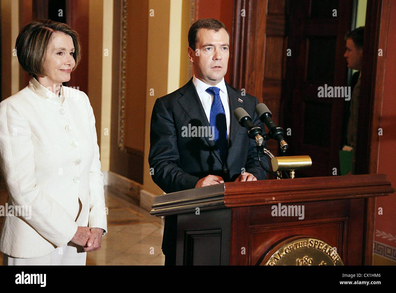 WASHINGTON, USA. JUNE 25, 2010. House Speaker Nancy Pelosi of California and Russian Federation president Dmitry Stock Photo