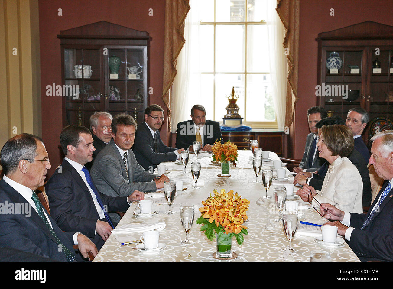 WASHINGTON, USA. JUNE 25, 2010. Russia's foreign minister Sergei Lavrov, Russian Federation president Dmitry Medvedev Stock Photo