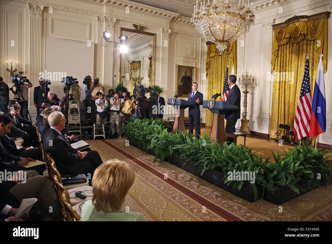 WASHINGTON, USA. JUNE 25, 2010. At a joint press conference of Russian Federation president Dmitry Medvedev and Stock Photo