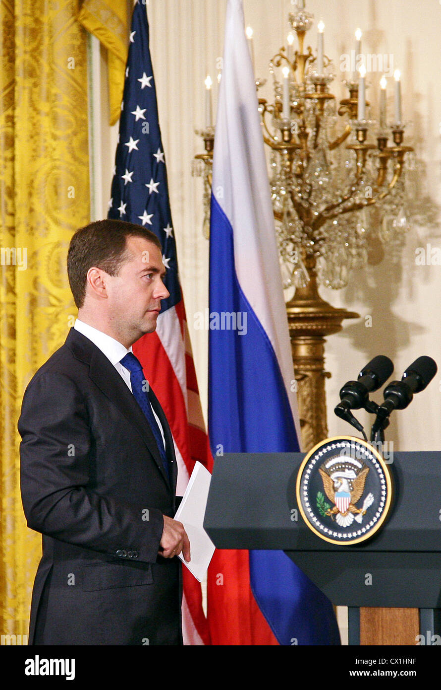 WASHINGTON, USA. JUNE 25, 2010. Russian President Dmitry Medvedev at a joint press conference with U.S. President Stock Photo